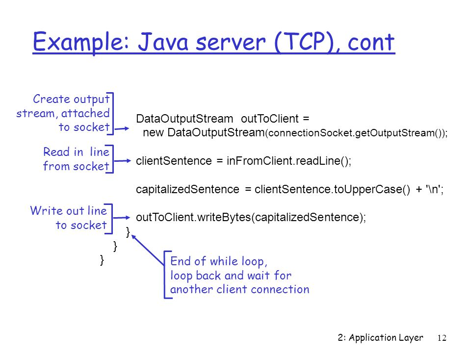 2: Application Layer 12 Example: Java server (TCP), cont DataOutputStream outToClient = new DataOutputStream (connectionSocket.getOutputStream()); clientSentence = inFromClient.readLine(); capitalizedSentence = clientSentence.toUpperCase() + \n ; outToClient.writeBytes(capitalizedSentence); } Read in line from socket Create output stream, attached to socket Write out line to socket End of while loop, loop back and wait for another client connection