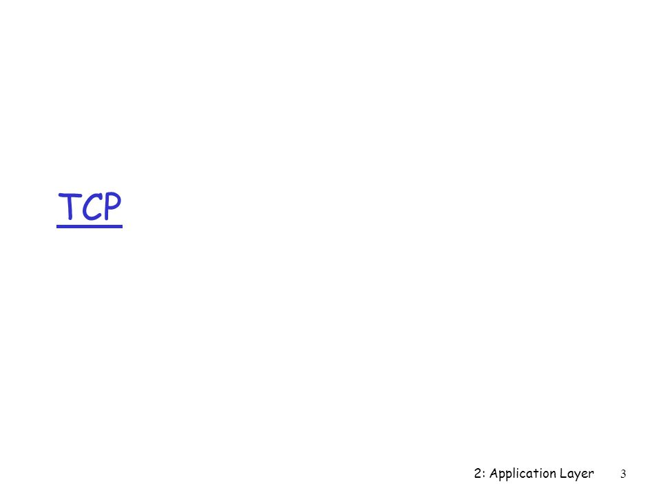 2: Application Layer 3 TCP