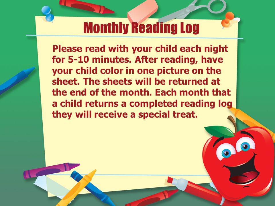 Monthly Reading Log Please read with your child each night for 5-10 minutes.