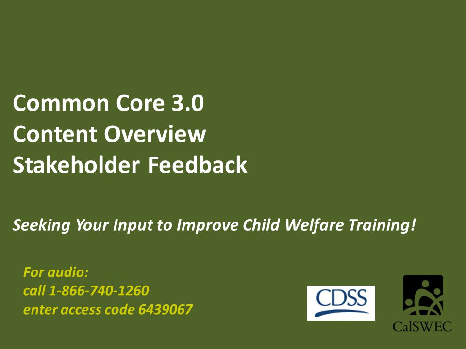 Common Core 3.0 Content Overview Stakeholder Feedback Seeking Your Input to Improve Child Welfare Training.