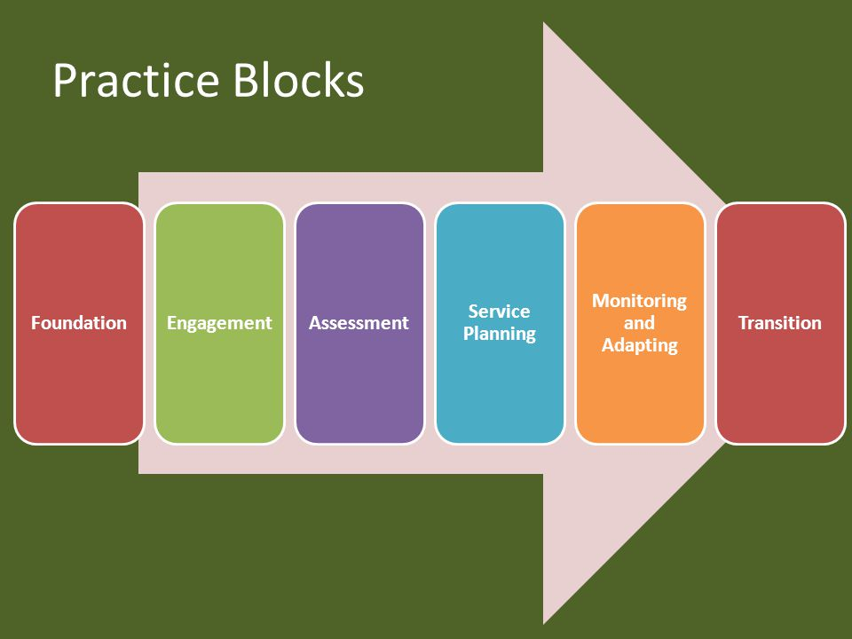 Practice Blocks FoundationEngagementAssessment Service Planning Monitoring and Adapting Transition