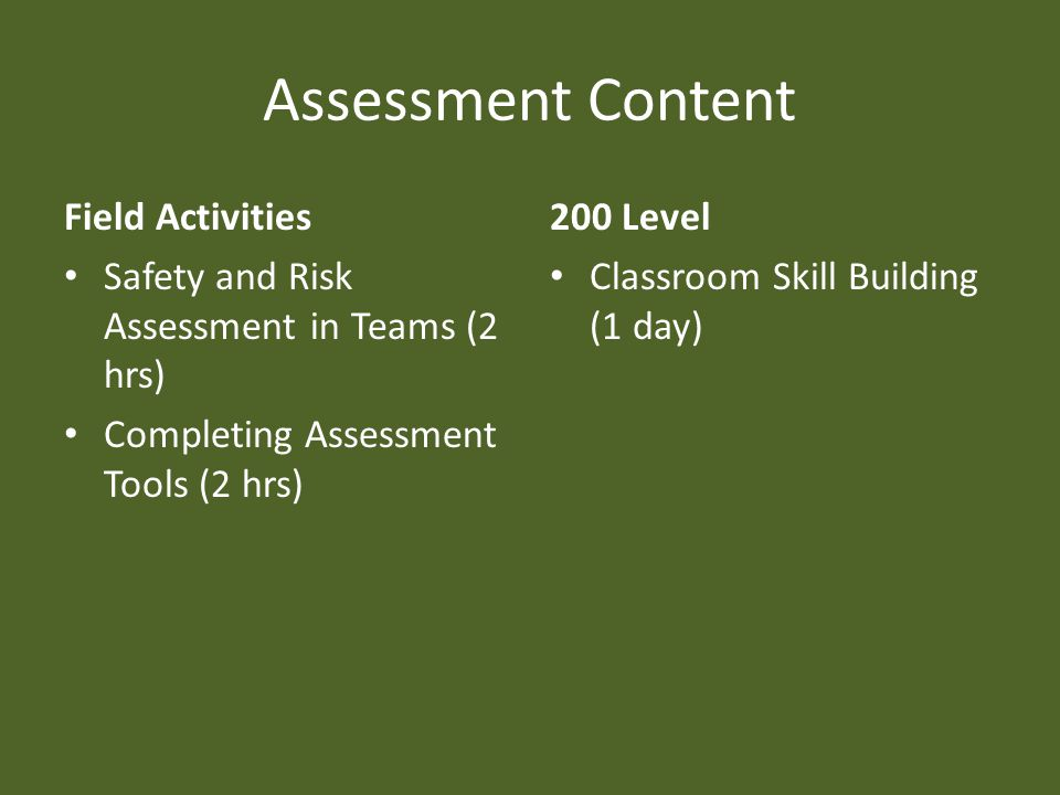 Assessment Content Field Activities Safety and Risk Assessment in Teams (2 hrs) Completing Assessment Tools (2 hrs) 200 Level Classroom Skill Building (1 day)