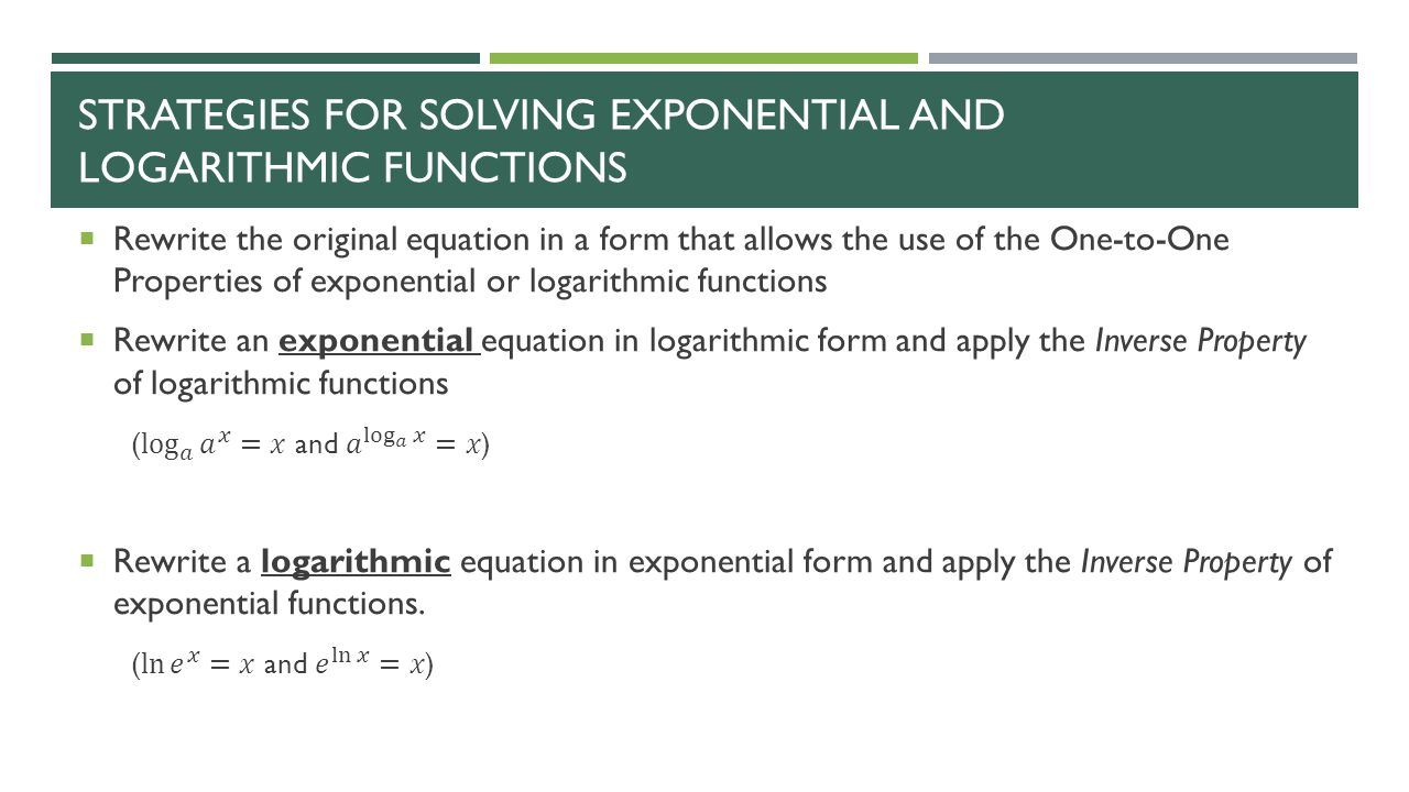 worksheet Solving Exponential And Logarithmic Equations Worksheet warm up solving exponential logarithmic functions section ppt 4 strategies for and functions