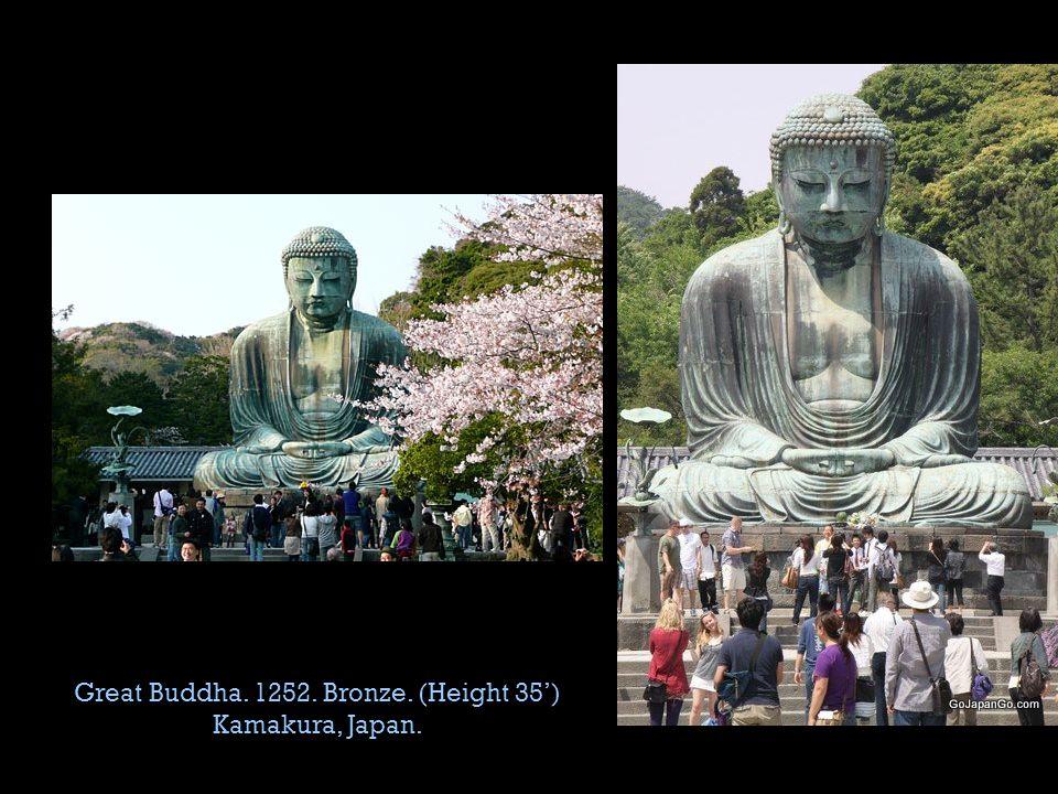 Great Buddha. 1252. Bronze. (Height 35') Kamakura, Japan.
