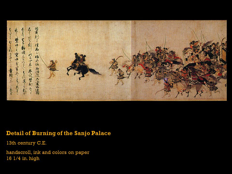Detail of Burning of the Sanjo Palace 13th century C.E.