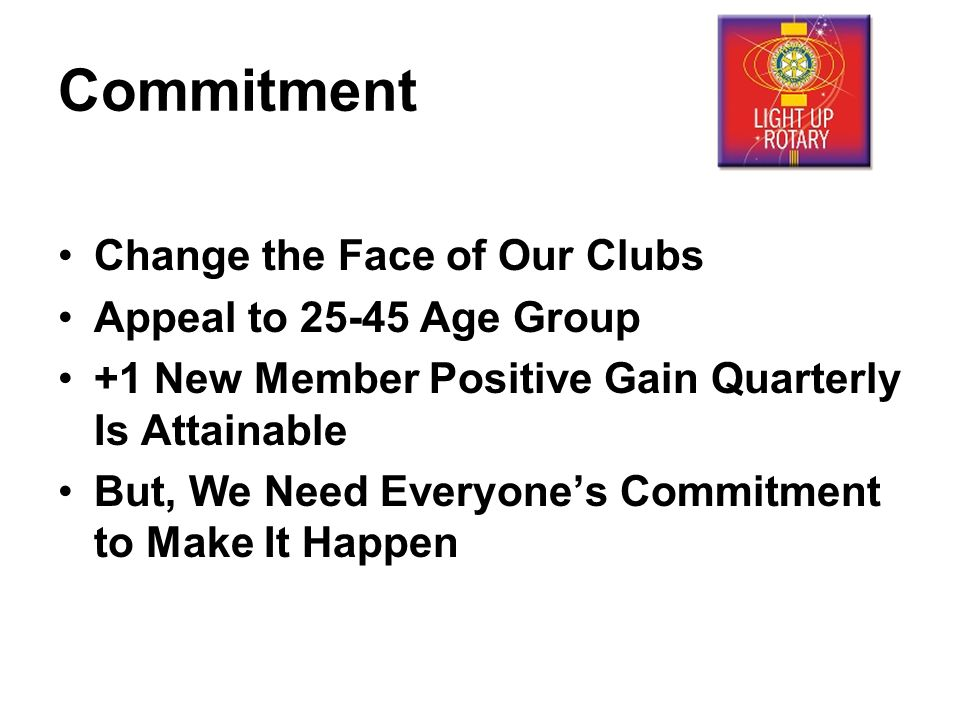Commitment Change the Face of Our Clubs Appeal to Age Group +1 New Member Positive Gain Quarterly Is Attainable But, We Need Everyone's Commitment to Make It Happen