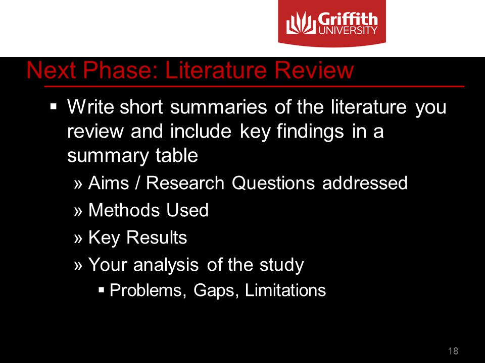 Literature Review Summary Table