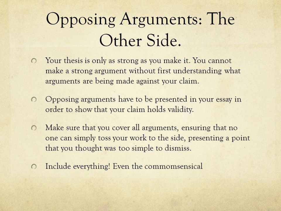 """strong thesis for an argumentative essay The learning connection wrac online handouts states the main idea of your whole essay strong thesis: """"laws prohibiting."""