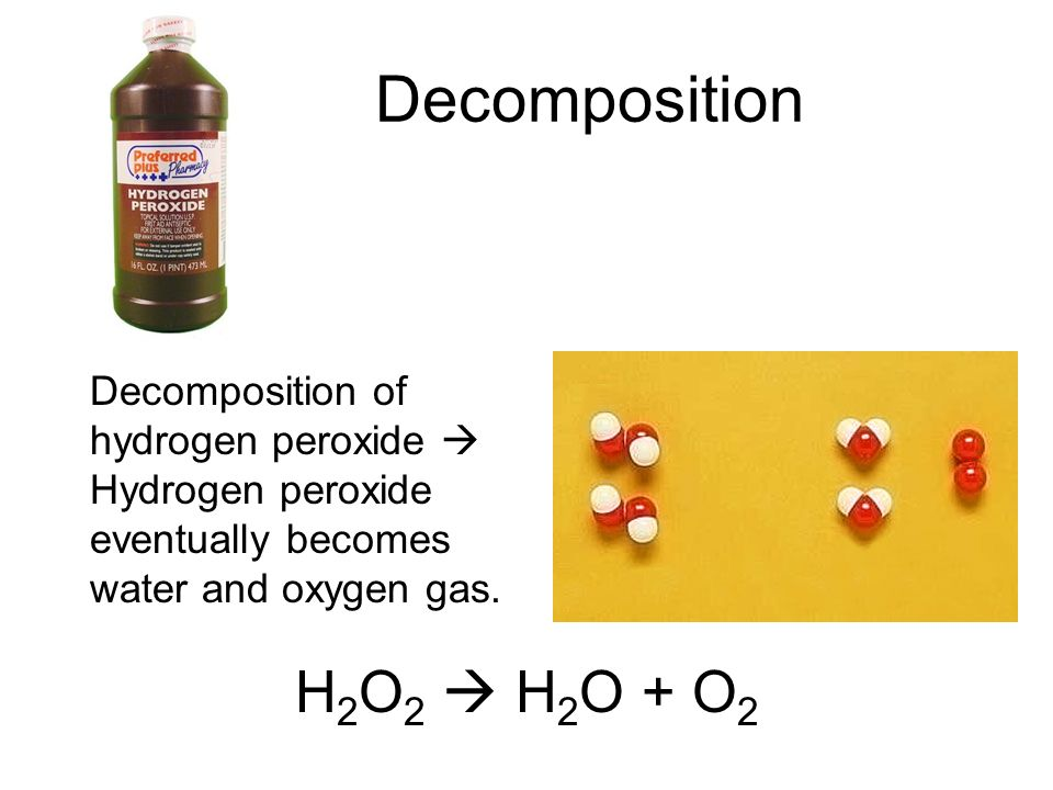 decomposition of hydrogen peroxide coursework The balanced equation of the decomposition reaction of hydrogen peroxide is that 2h2o2 decomposes into the products 2h2o + o2(g) the.