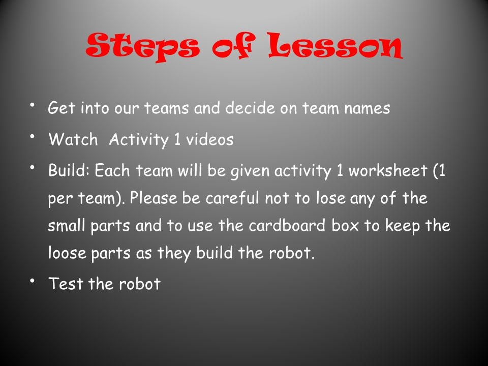 Steps of Lesson Get into our teams