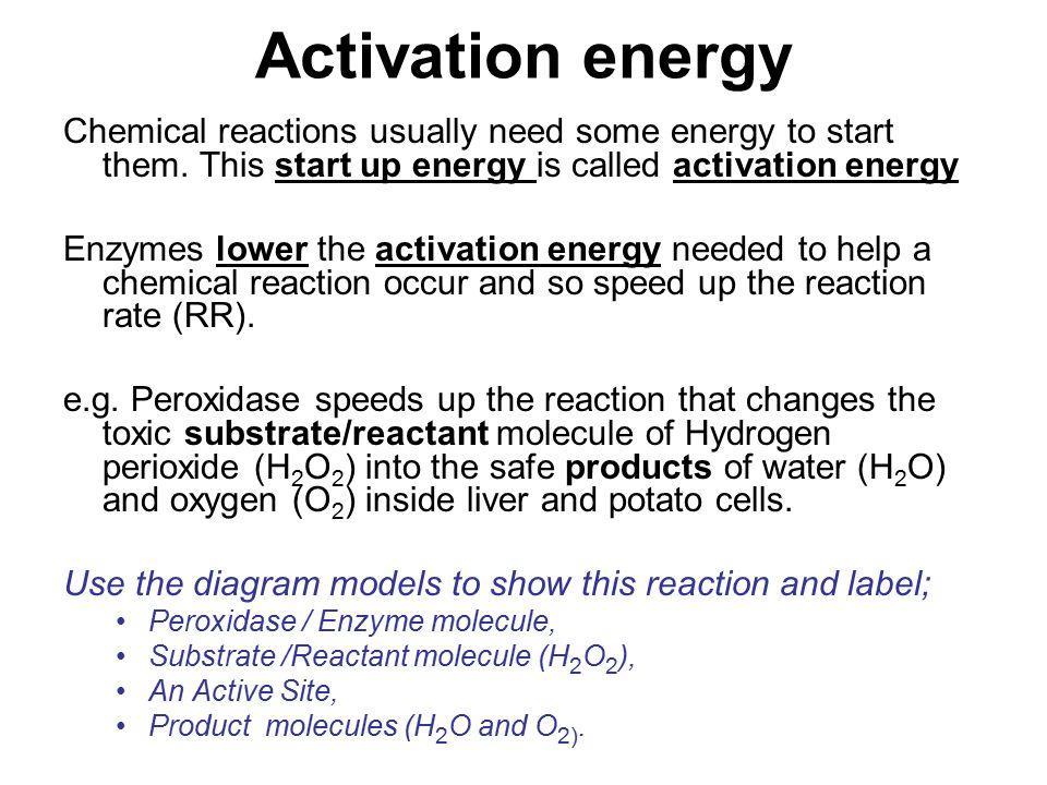 Activation energy Chemical reactions usually need some energy to start them.