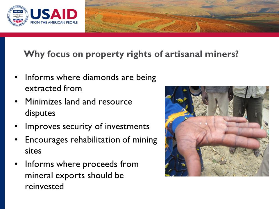 Why focus on property rights of artisanal miners.