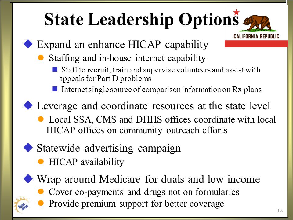 12 State Leadership Options  Expand an enhance HICAP capability Staffing and in-house internet capability Staff to recruit, train and supervise volunteers and assist with appeals for Part D problems Internet single source of comparison information on Rx plans  Leverage and coordinate resources at the state level Local SSA, CMS and DHHS offices coordinate with local HICAP offices on community outreach efforts  Statewide advertising campaign HICAP availability  Wrap around Medicare for duals and low income Cover co-payments and drugs not on formularies Provide premium support for better coverage