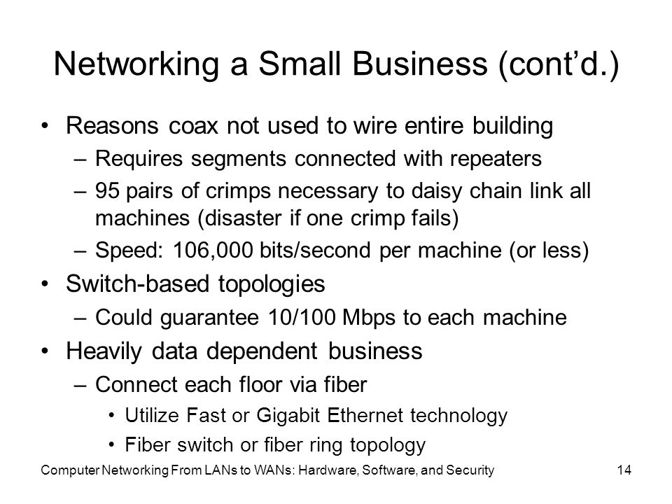 Networking a Small Business (cont'd.) Reasons coax not used to wire entire building –Requires segments connected with repeaters –95 pairs of crimps necessary to daisy chain link all machines (disaster if one crimp fails) –Speed: 106,000 bits/second per machine (or less) Switch-based topologies –Could guarantee 10/100 Mbps to each machine Heavily data dependent business –Connect each floor via fiber Utilize Fast or Gigabit Ethernet technology Fiber switch or fiber ring topology Computer Networking From LANs to WANs: Hardware, Software, and Security14