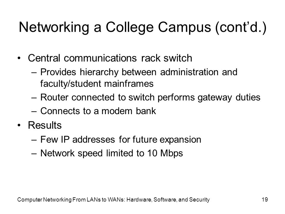 Computer Networking From LANs to WANs: Hardware, Software, and Security19 Networking a College Campus (cont'd.) Central communications rack switch –Provides hierarchy between administration and faculty/student mainframes –Router connected to switch performs gateway duties –Connects to a modem bank Results –Few IP addresses for future expansion –Network speed limited to 10 Mbps
