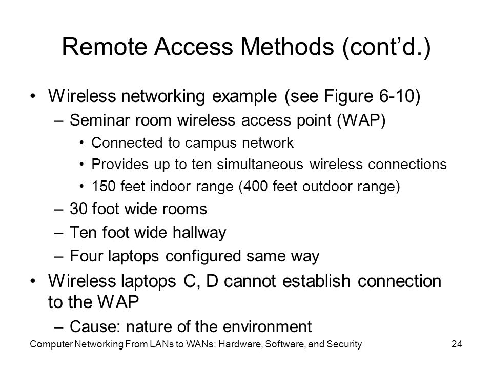 Remote Access Methods (cont'd.) Wireless networking example (see Figure 6-10) –Seminar room wireless access point (WAP) Connected to campus network Provides up to ten simultaneous wireless connections 150 feet indoor range (400 feet outdoor range) –30 foot wide rooms –Ten foot wide hallway –Four laptops configured same way Wireless laptops C, D cannot establish connection to the WAP –Cause: nature of the environment Computer Networking From LANs to WANs: Hardware, Software, and Security24