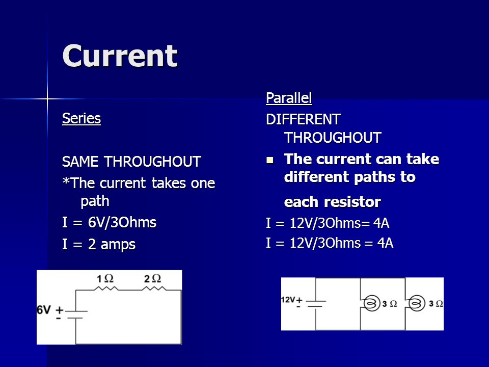 Current Series SAME THROUGHOUT *The current takes one path I = 6V/3Ohms I = 2 amps Parallel DIFFERENT THROUGHOUT The current can take different paths to each resistor The current can take different paths to each resistor I = 12V/3Ohms= 4A