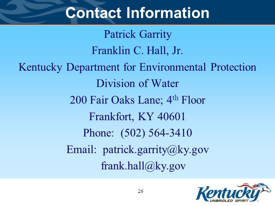 26 Contact Information Patrick Garrity Franklin C.