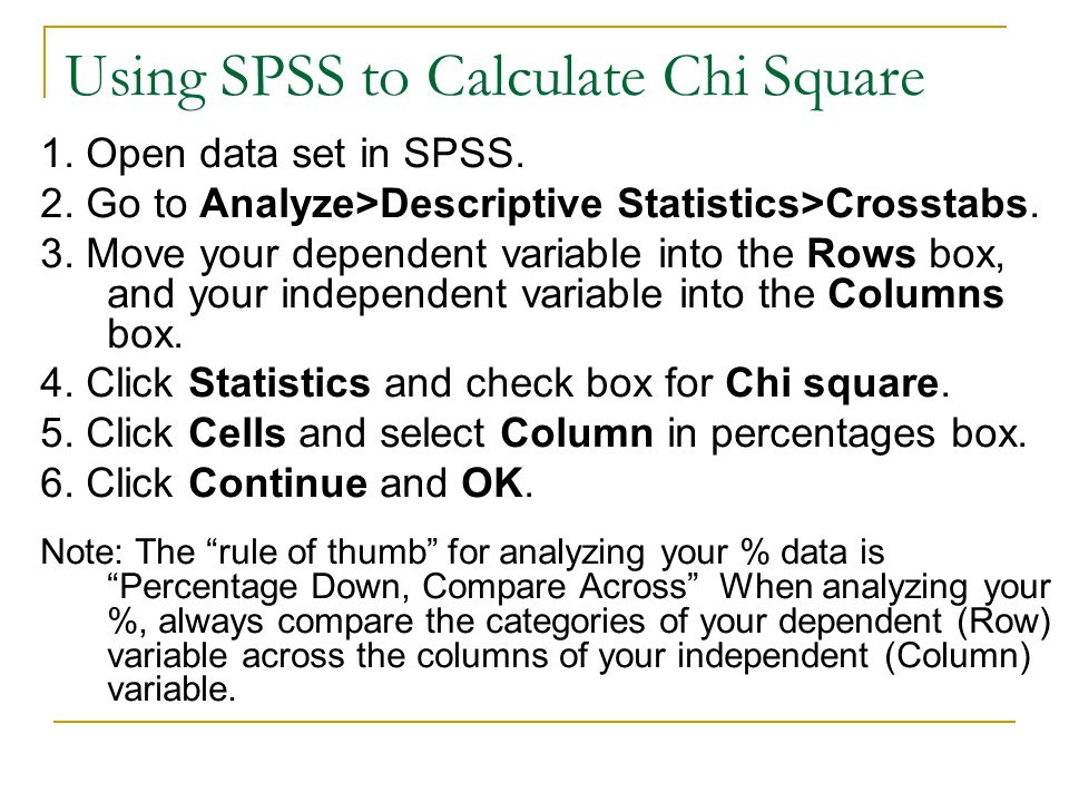 Using SPSS to Calculate Chi Square 1. Open data set in SPSS.