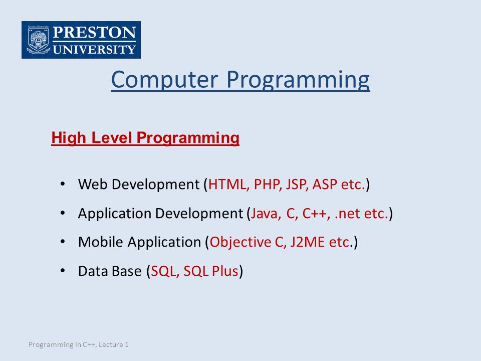 Programming In C++, Lecture 1 Computer Programming High Level Programming Web Development (HTML, PHP, JSP, ASP etc.) Application Development (Java, C, C++,.net etc.) Mobile Application (Objective C, J2ME etc.) Data Base (SQL, SQL Plus)