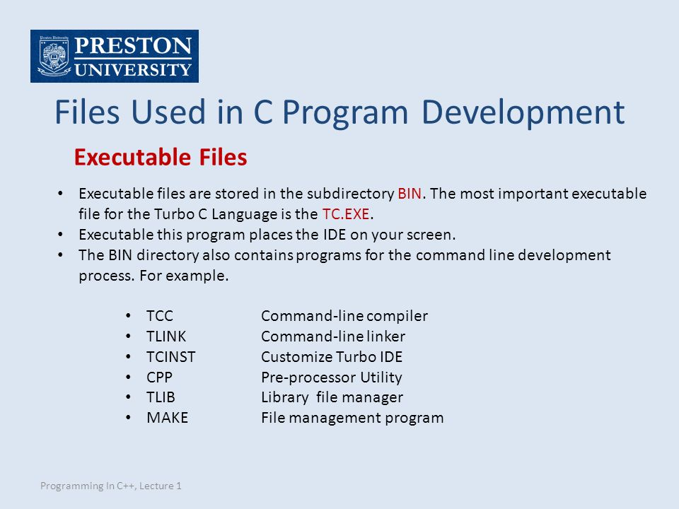 Programming In C++, Lecture 1 Files Used in C Program Development Executable files are stored in the subdirectory BIN.