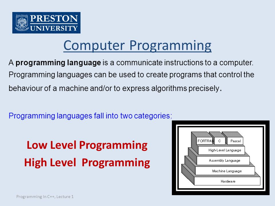 Programming In C++, Lecture 1 Computer Programming Low Level Programming High Level Programming A programming language is a communicate instructions to a computer.
