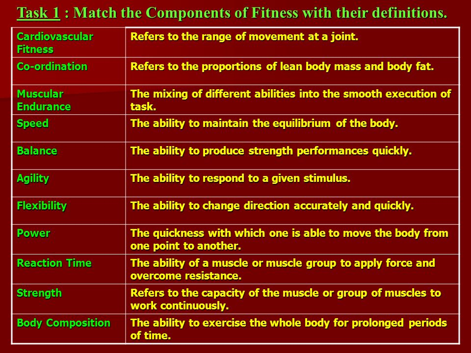 Cardiovascular Fitness Refers to the range of movement at a joint.
