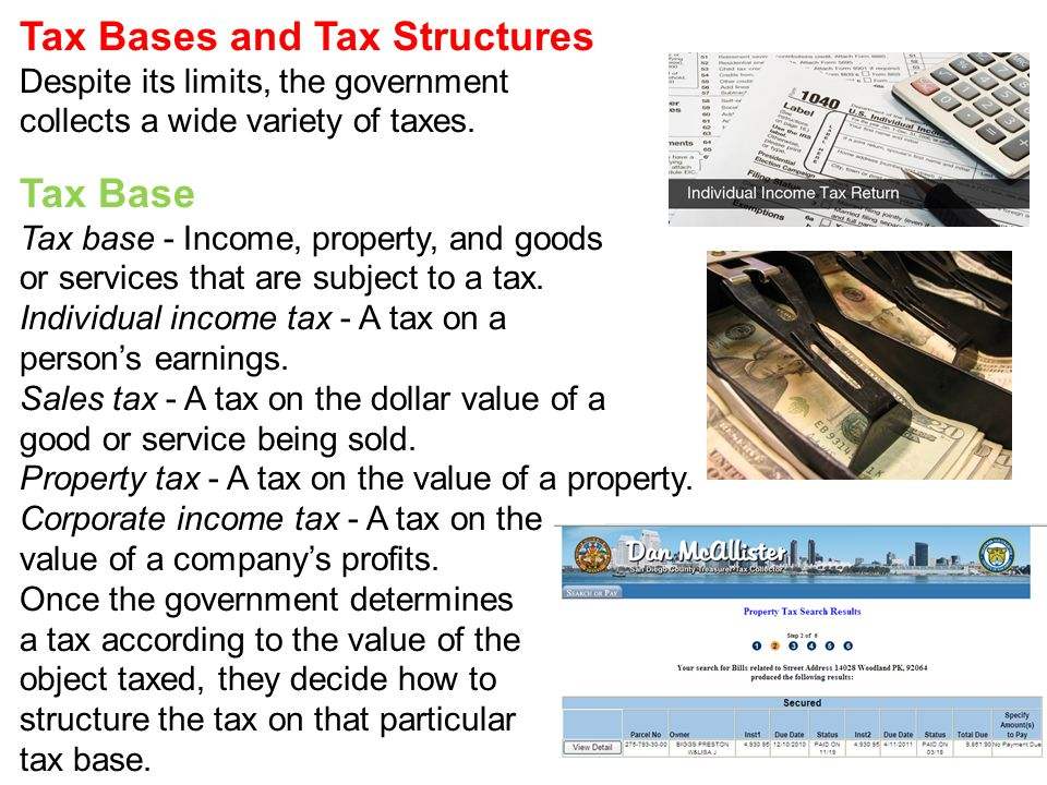 Tax Bases and Tax Structures Despite its limits, the government collects a wide variety of taxes.