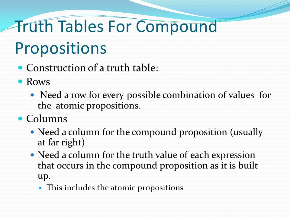 Truth Tables For Compound Propositions Construction of a truth table: Rows Need a row for every possible combination of values for the atomic propositions.