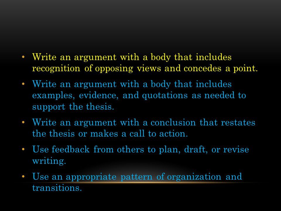 Write an argument with a body that includes recognition of opposing views and concedes a point.