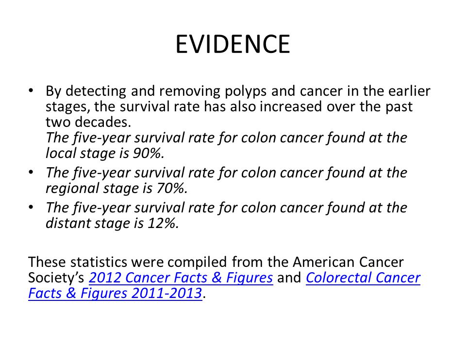 EVIDENCE By detecting and removing polyps and cancer in the earlier stages, the survival rate has also increased over the past two decades.