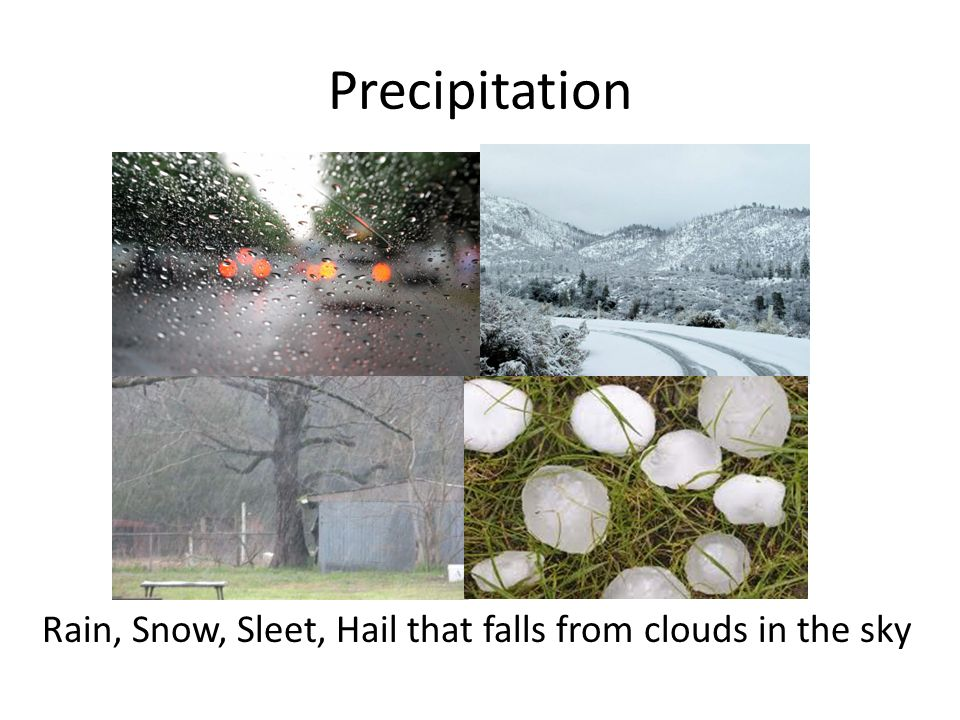Precipitation Rain, Snow, Sleet, Hail that falls from clouds in the sky