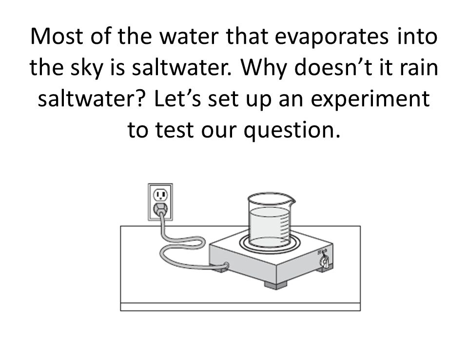 Most of the water that evaporates into the sky is saltwater.