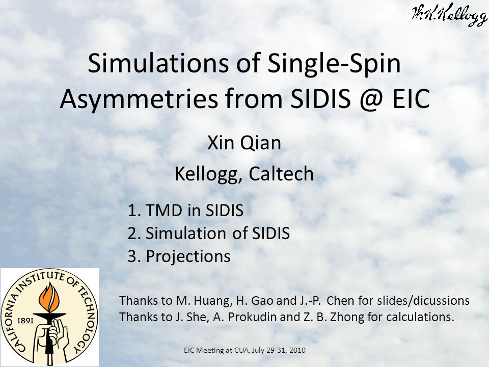 Simulations of Single-Spin Asymmetries from EIC Xin Qian Kellogg, Caltech EIC Meeting at CUA, July 29-31, TMD in SIDIS 2.Simulation of SIDIS 3.Projections Thanks to M.