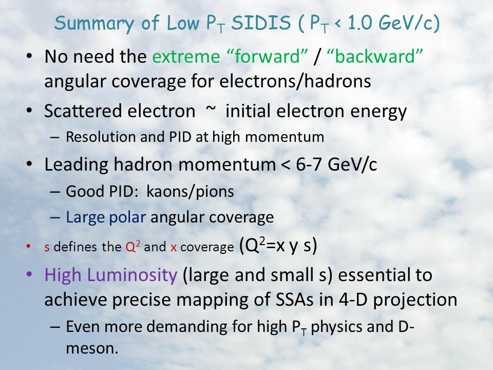 Summary of Low P T SIDIS ( P T < 1.0 GeV/c) No need the extreme forward / backward angular coverage for electrons/hadrons Scattered electron ~ initial electron energy – Resolution and PID at high momentum Leading hadron momentum < 6-7 GeV/c – Good PID: kaons/pions – Large polar angular coverage s defines the Q 2 and x coverage (Q 2 =x y s) High Luminosity (large and small s) essential to achieve precise mapping of SSAs in 4-D projection – Even more demanding for high P T physics and D- meson.