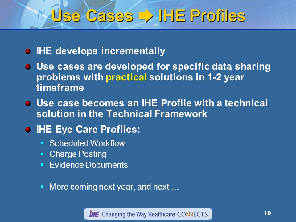 10 Use Cases ➨ IHE Profiles IHE develops incrementally Use cases are developed for specific data sharing problems with practical solutions in 1-2 year timeframe Use case becomes an IHE Profile with a technical solution in the Technical Framework IHE Eye Care Profiles:  Scheduled Workflow  Charge Posting  Evidence Documents  More coming next year, and next …