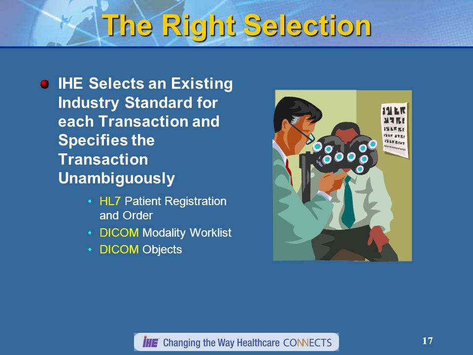 17 The Right Selection IHE Selects an Existing Industry Standard for each Transaction and Specifies the Transaction Unambiguously HL7 Patient Registration and Order DICOM Modality Worklist DICOM Objects
