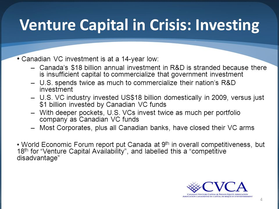 4 Venture Capital in Crisis: Investing Canadian VC investment is at a 14-year low: –Canada's $18 billion annual investment in R&D is stranded because there is insufficient capital to commercialize that government investment –U.S.
