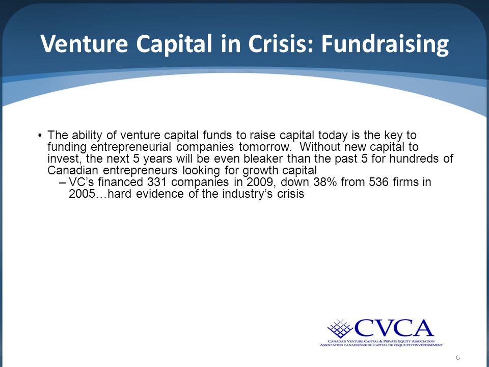 6 Venture Capital in Crisis: Fundraising The ability of venture capital funds to raise capital today is the key to funding entrepreneurial companies tomorrow.
