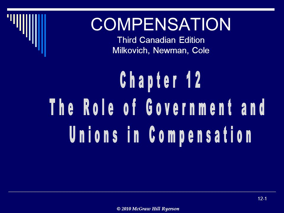 © 2010 McGraw Hill Ryerson 12-1 COMPENSATION Third Canadian Edition Milkovich, Newman, Cole