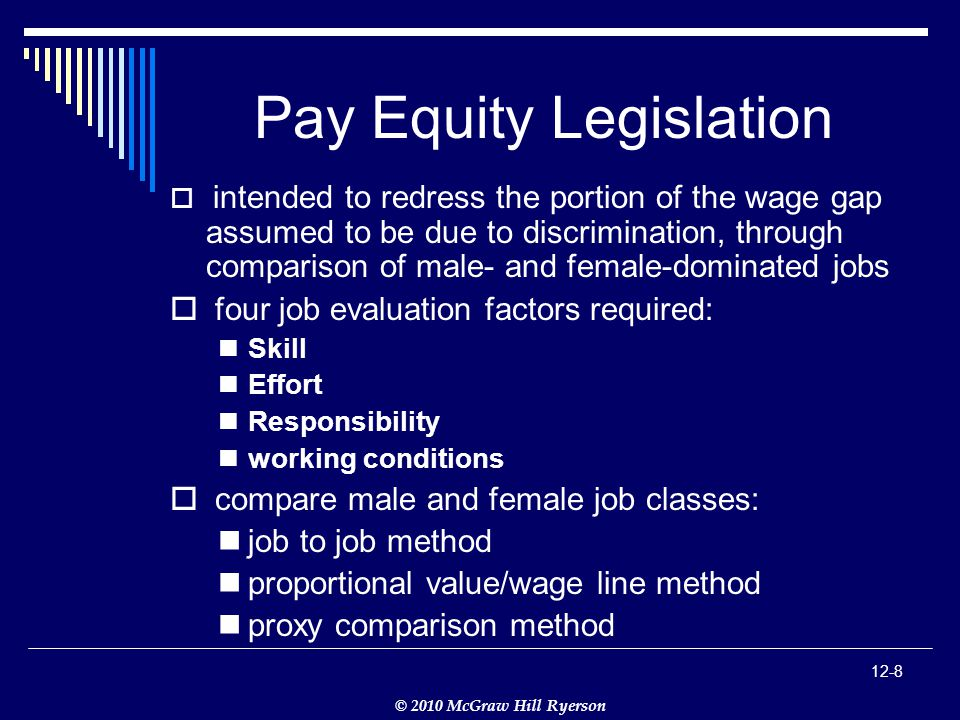 © 2010 McGraw Hill Ryerson 12-8 Pay Equity Legislation  intended to redress the portion of the wage gap assumed to be due to discrimination, through comparison of male- and female-dominated jobs  four job evaluation factors required: Skill Effort Responsibility working conditions  compare male and female job classes: job to job method proportional value/wage line method proxy comparison method