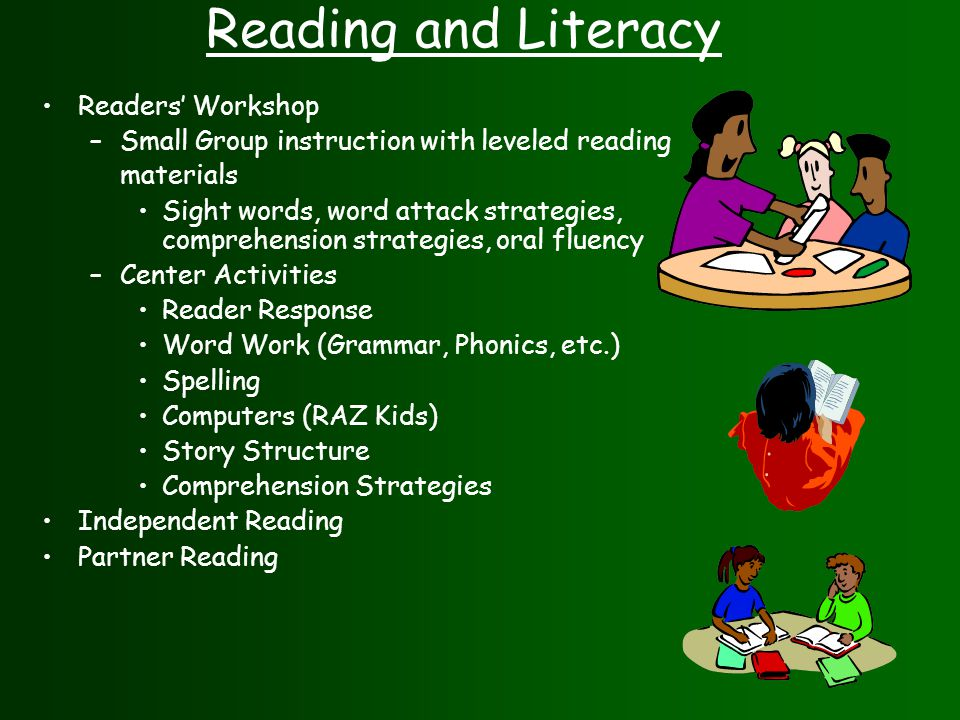 Reading and Literacy Readers' Workshop –Small Group instruction with leveled reading materials Sight words, word attack strategies, comprehension strategies, oral fluency –Center Activities Reader Response Word Work (Grammar, Phonics, etc.) Spelling Computers (RAZ Kids) Story Structure Comprehension Strategies Independent Reading Partner Reading