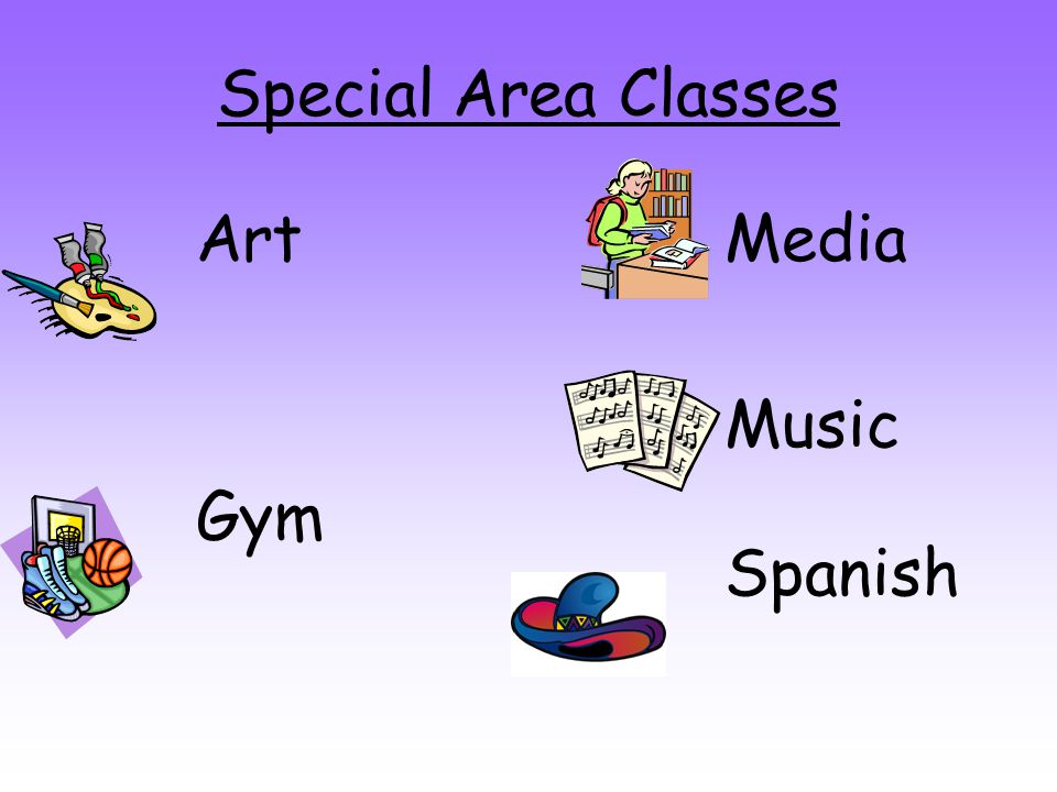 Special Area Classes Art Gym Media Music Spanish