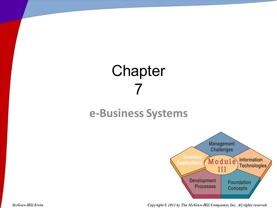 e-Business Systems Chapter 7 McGraw-Hill/IrwinCopyright © 2011 by The McGraw-Hill Companies, Inc.