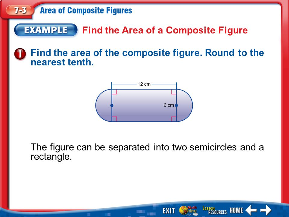 Example 1 Find the Area of a Composite Figure Find the area of the composite figure.
