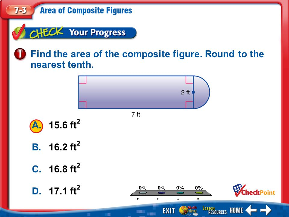 1.A 2.B 3.C 4.D Example 1 A.15.6 ft 2 B.16.2 ft 2 C.16.8 ft 2 D.17.1 ft 2 Find the area of the composite figure.