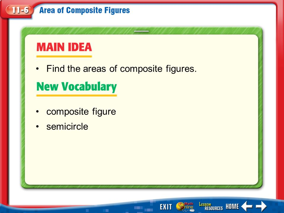 Main Idea/Vocabulary composite figure semicircle Find the areas of composite figures.