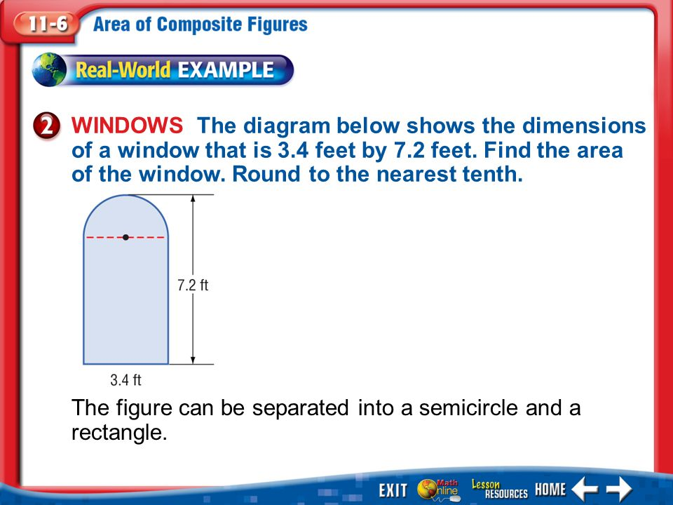 Example 2 WINDOWS The diagram below shows the dimensions of a window that is 3.4 feet by 7.2 feet.