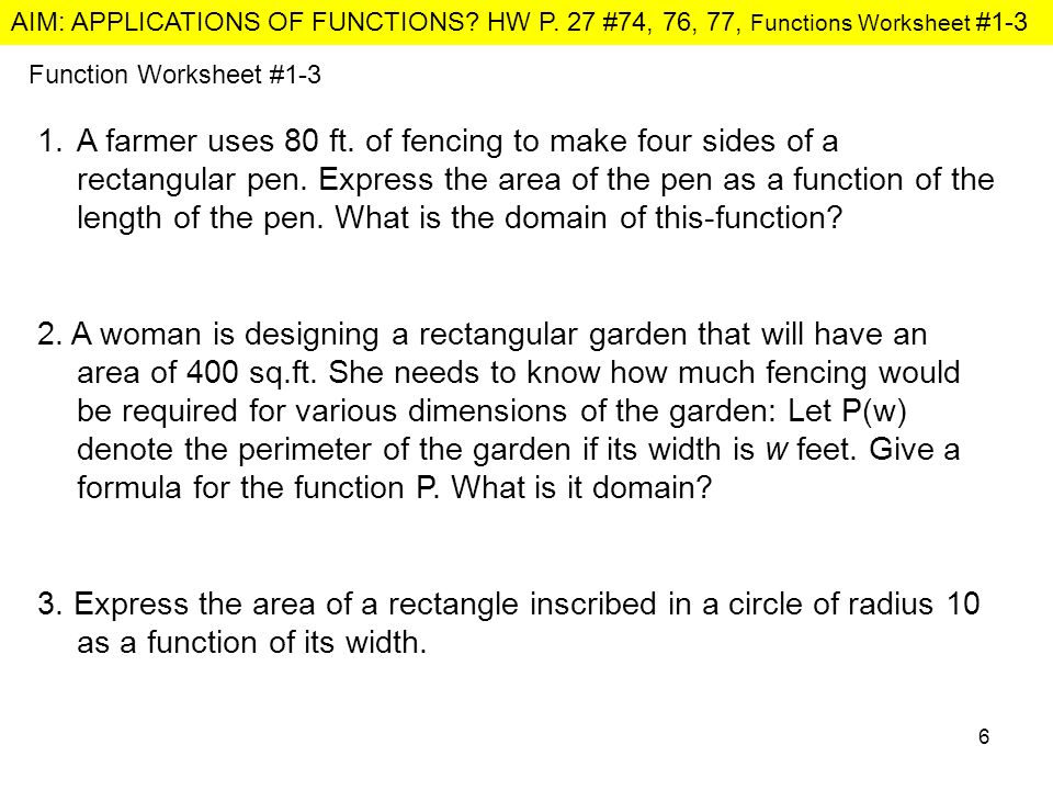 Aim Applications Of Functions Hw P 27 74 76 77 Functions