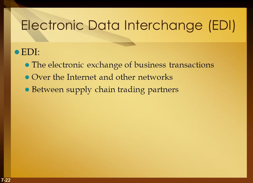 7-22 Electronic Data Interchange (EDI) EDI: The electronic exchange of business transactions Over the Internet and other networks Between supply chain trading partners
